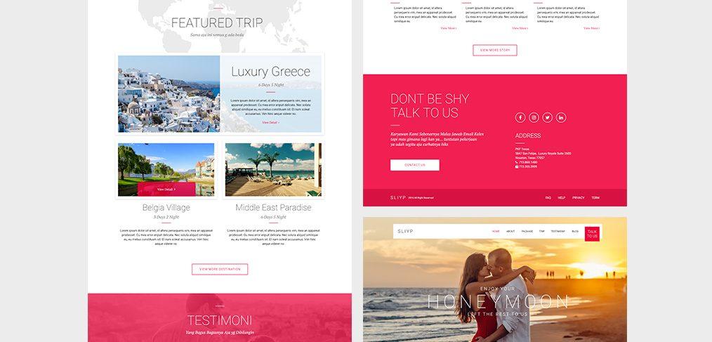 Travel landing page XD