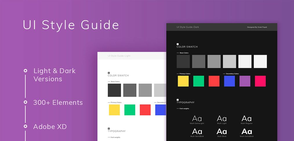 Free UI style guide for Adobe XD - XDGuru com