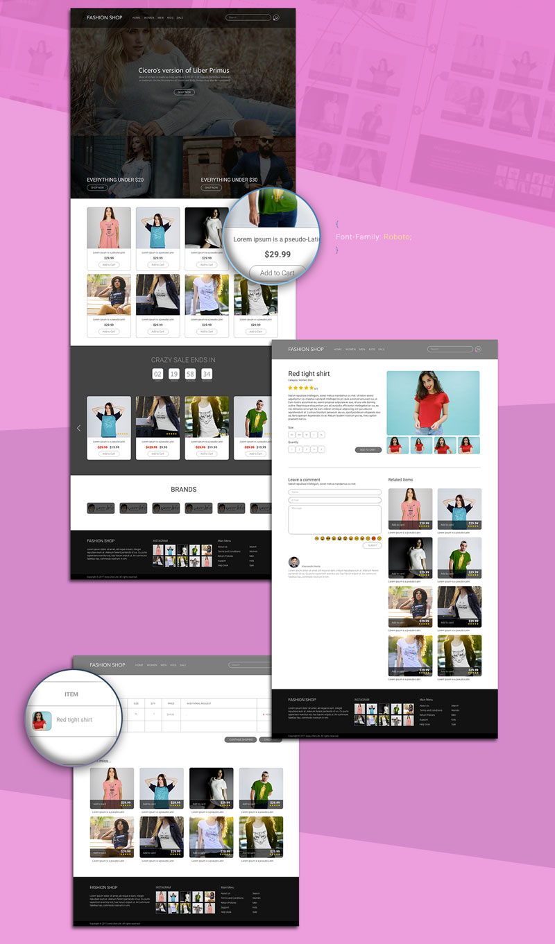 free ecommerce template xd 2