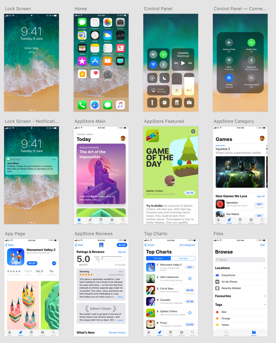 ios 11 ui kit for adobe xd xdguru com