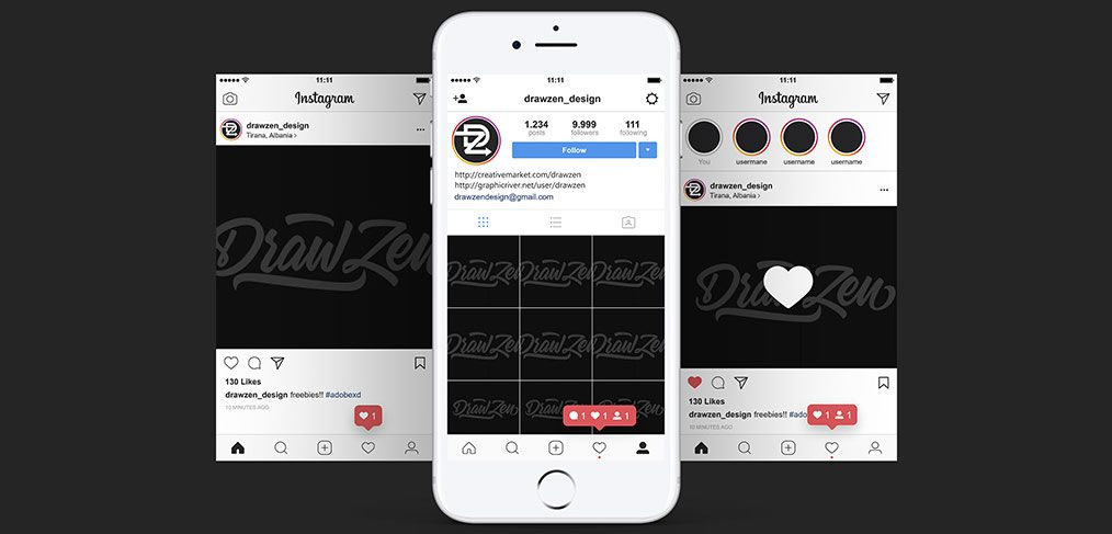 Instagram UI mobile screens for XD - XDGuru com