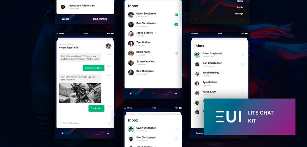 EUI Lite Chat UI Kit for Adobe XD - XDGuru com