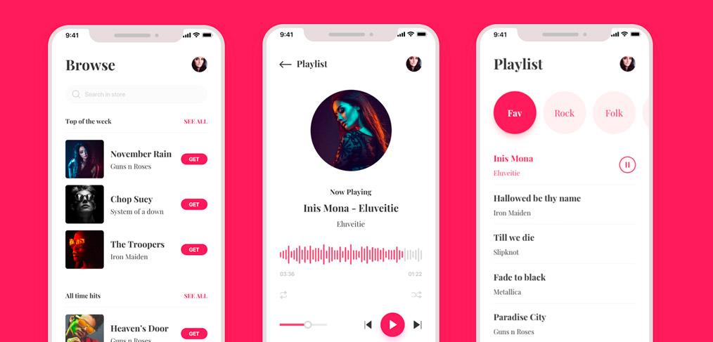 Freebie - Music Player App UI Kit by Abdur Rahman Sami on