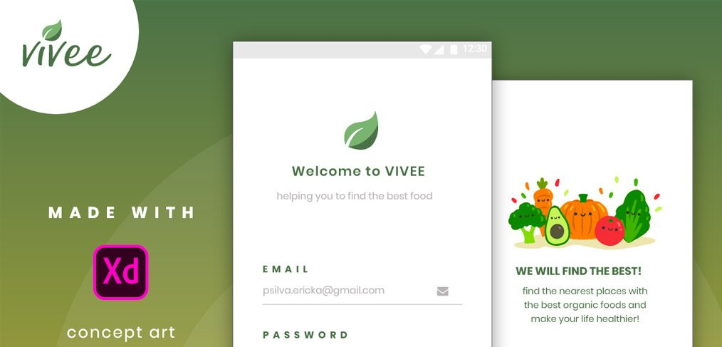 Vivee Food Searcher App for Adobe XD