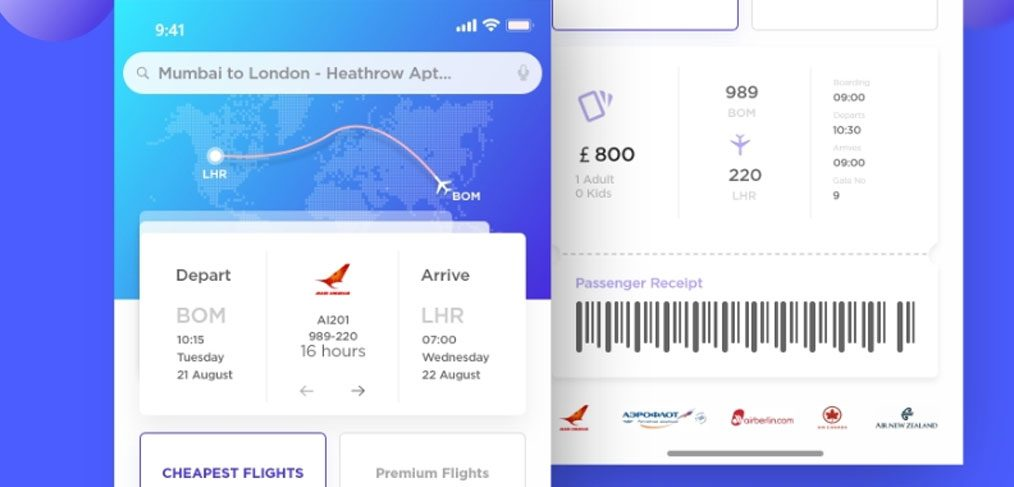 Airplane Ticket IOS App Freebie