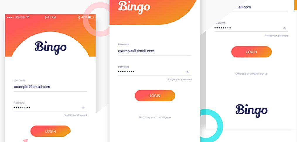 Bingo - Mobile login screens