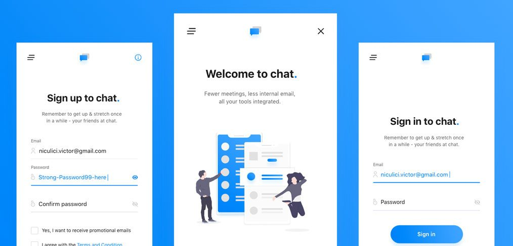 Chat app signup screen