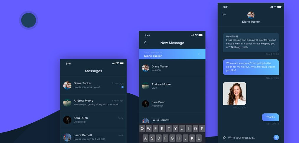 Messenger Dark Theme Concept