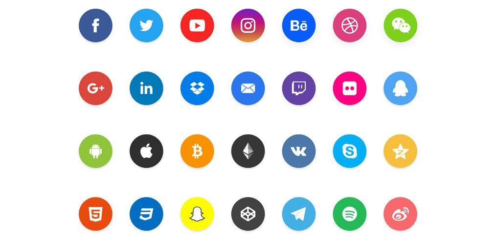 Social share XD icons set
