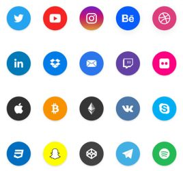 Social share XD icons set