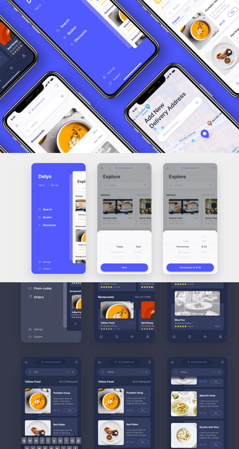Delyo Food delivery app UI Kit-screens