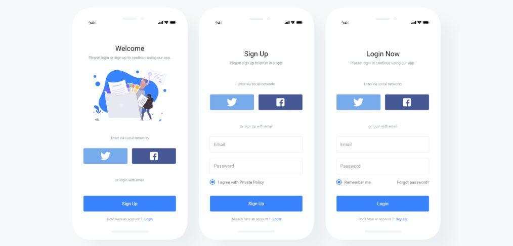 Free login and signup mobile screens