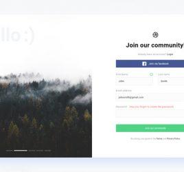 Signup page for desktop