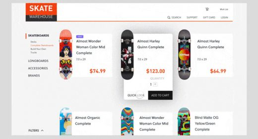 Skate Shop XD Website Interaction