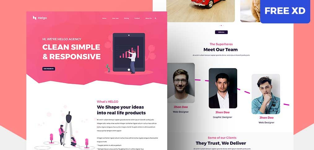 Agency free XD website template