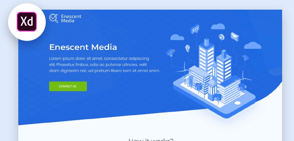 Free Tech XD landing page template