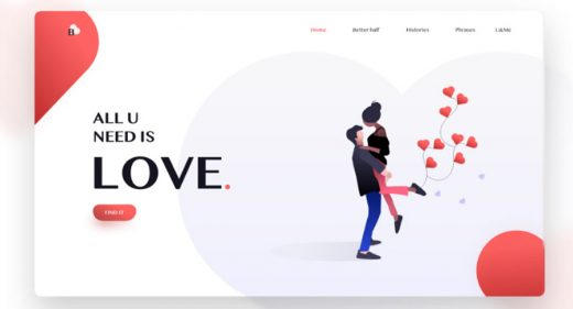 Love - Basic landing page concept