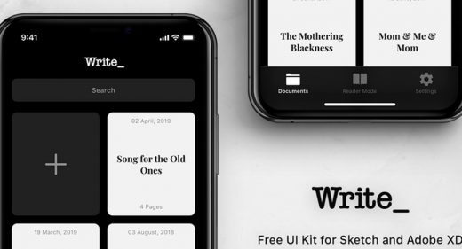 Write - Free XD Mobile UI kit