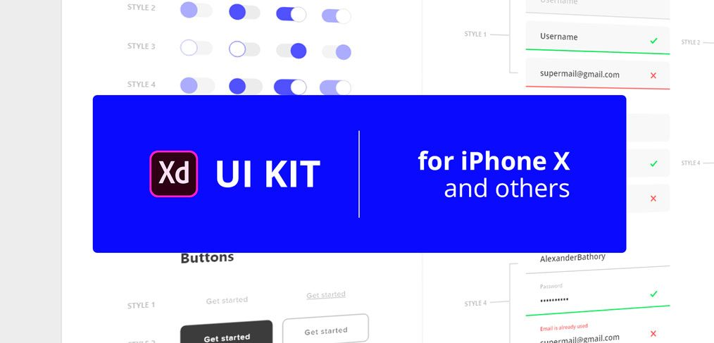 XD mobile UI elements kit