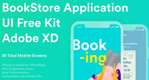 Bookstore App Free UI kit for XD