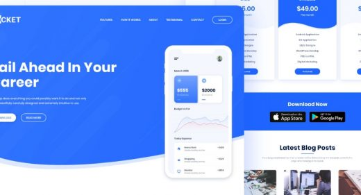 Pocket app landing page template