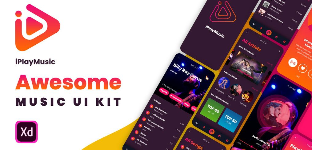 XD Music App Free UI kit