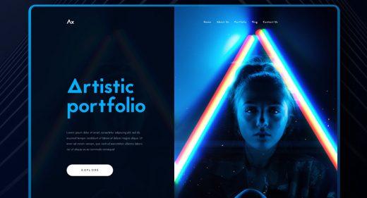Artistic portfolio dark template XD