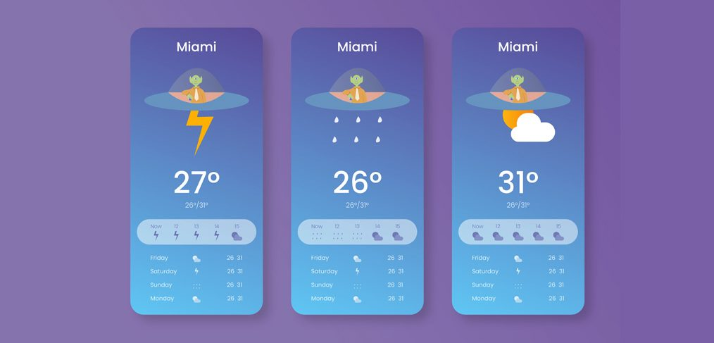 Funky weather app concept for XD