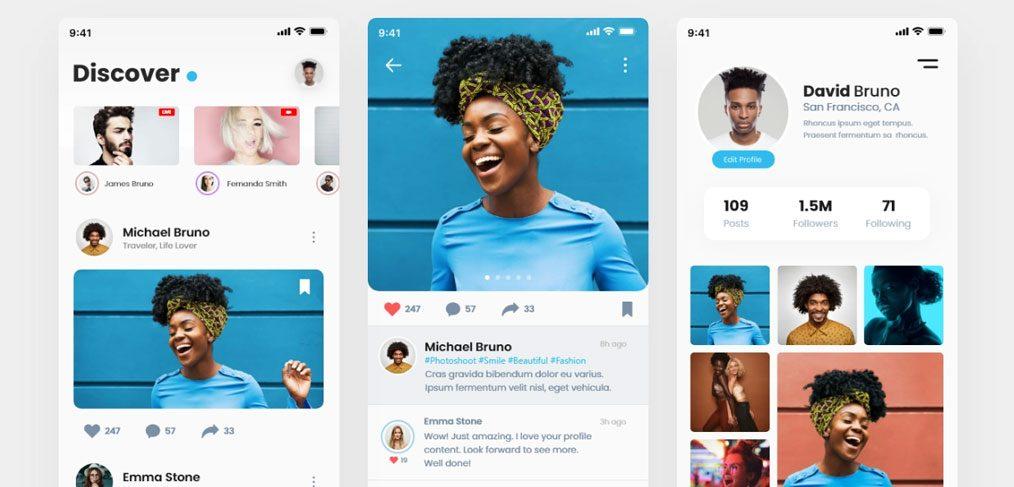 Social Media Mobile XD Ui Kit Demo