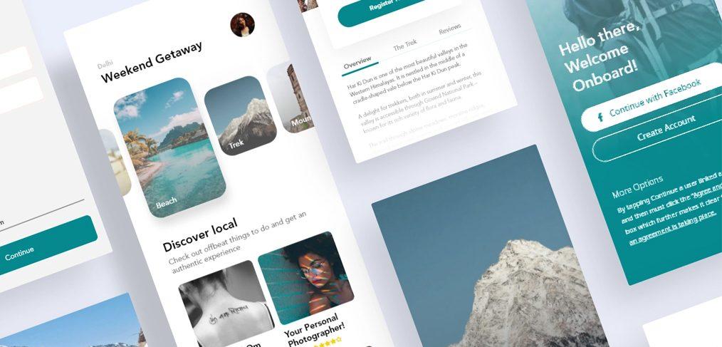 Travel mobile app XD template