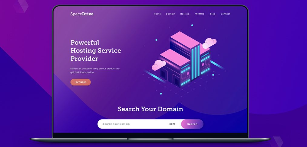 Web hosting website XD template
