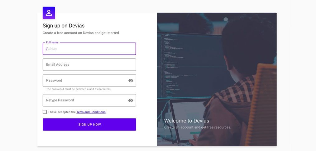 XD material signup template