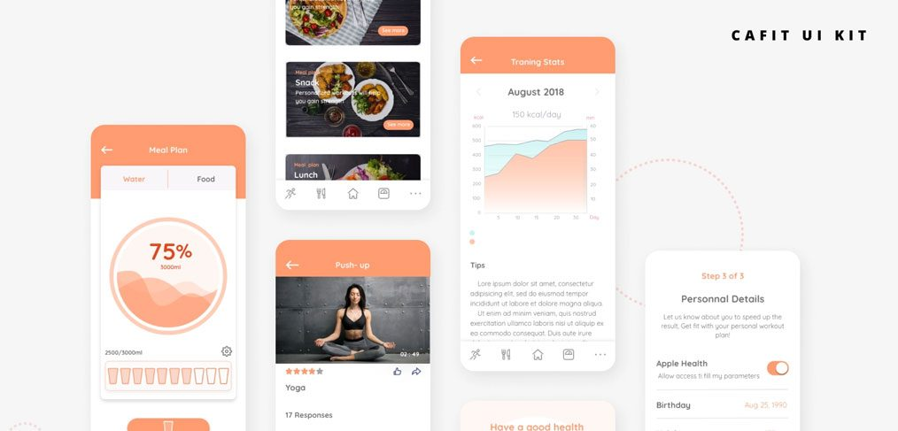 Cafit - Workout free UI kit for XD