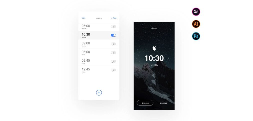 Clock Alarm mobile app XD template