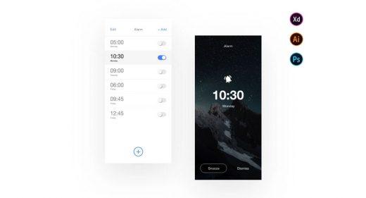 Clock Alarm mobile app XD template