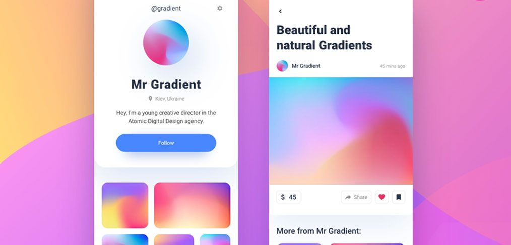 Social network gradient mobile template