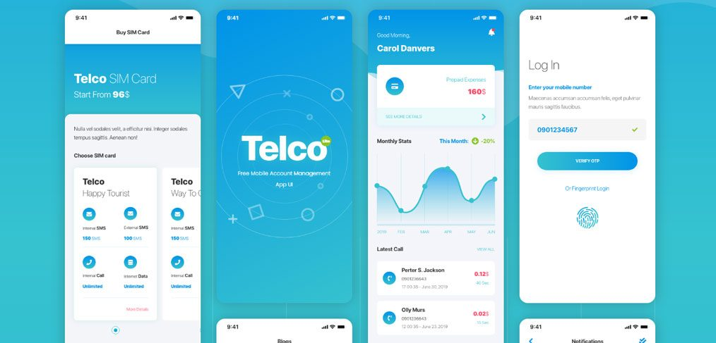 Telco free mobile XD ui kit