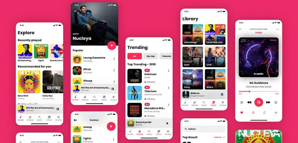 Adobe XD music UI kit, FREE