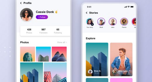 Free XD social app template