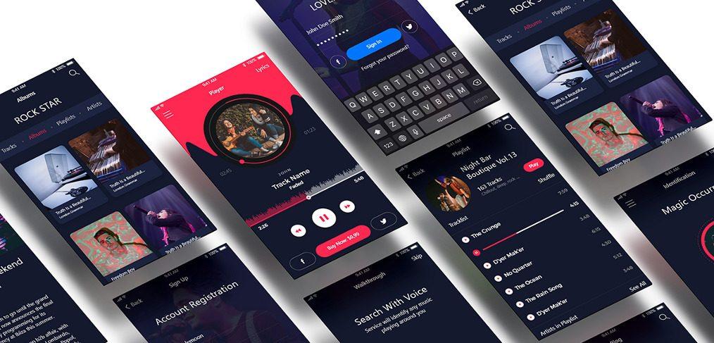 Music app Free XD UI kit