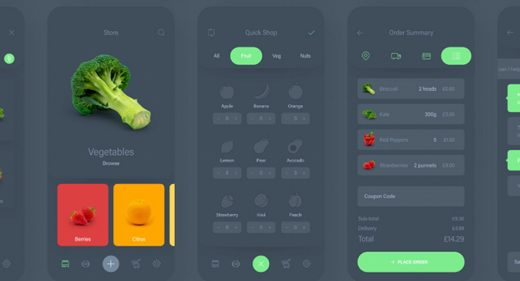 Fresh food - Free mobile XD UI Kit