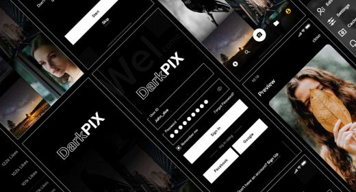 DarkPIX free stock images XD UI kit