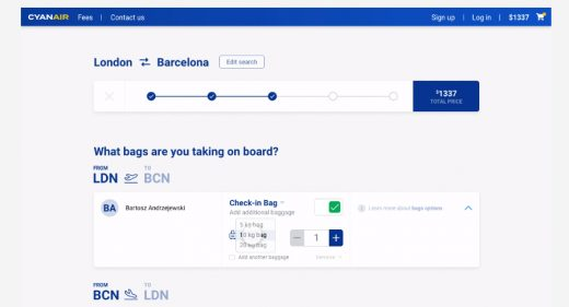 Flight booking redesign with XD