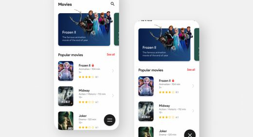 Movie app sliding menu & animation