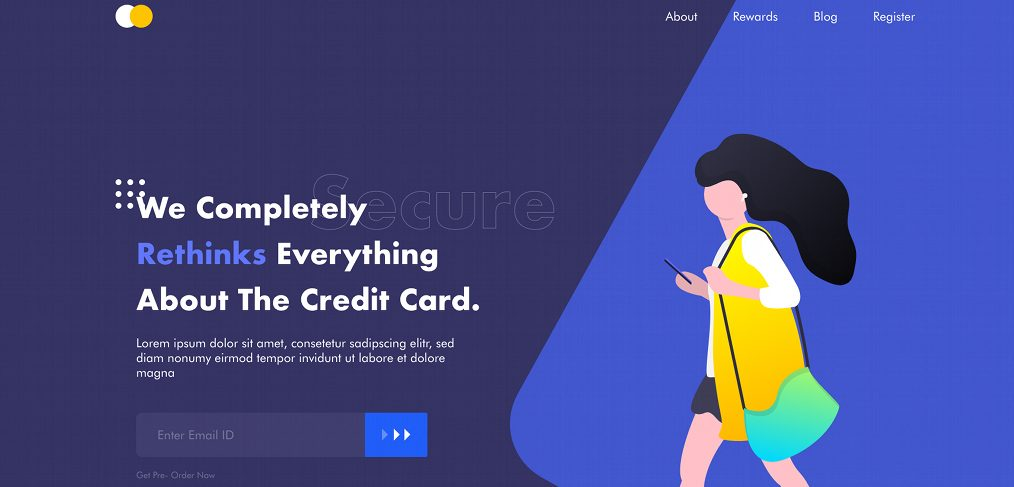 Payment card XD landing page template