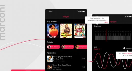 Radio app UI XD template
