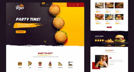 Fast food XD website template