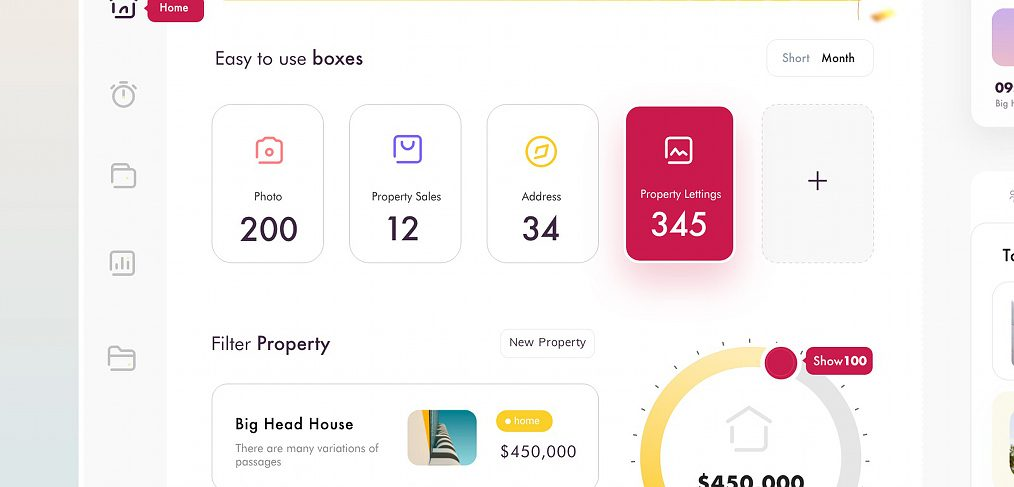 Property dashboard XD template