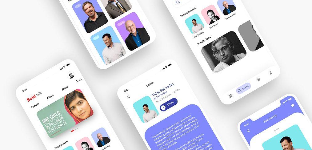 Talk reader mobile app XD template