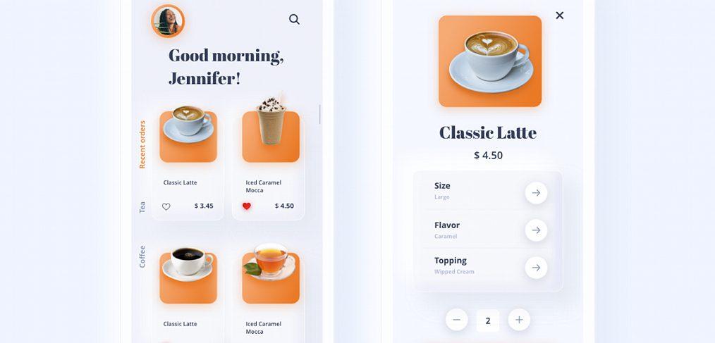 Coffee app neomorphic XD template